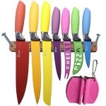 Kitchen Knives Set Plus Magnetic Strip and Sharpener by Chefcoo™ Awesome Color Addition to your Cooking Cutlery Tools and Kitchen Gadgets Collection - Includes Cheese, Pizza, Paring, Utility, Slicer, Bread and Chef Knives, - Elegant Gift Packaging Design