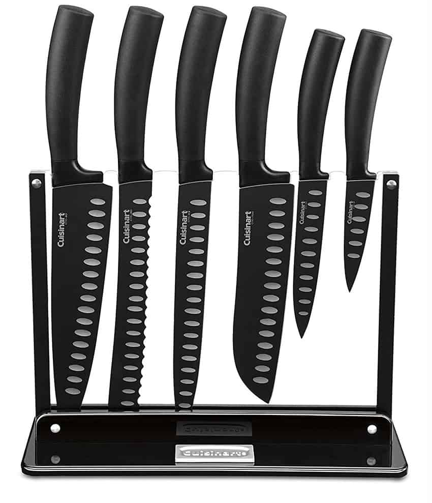 Cuisinart C77NS-7P Classic Nonstick Edge Collection 7-Piece Cutlery Knife Set with Acrylic Stand