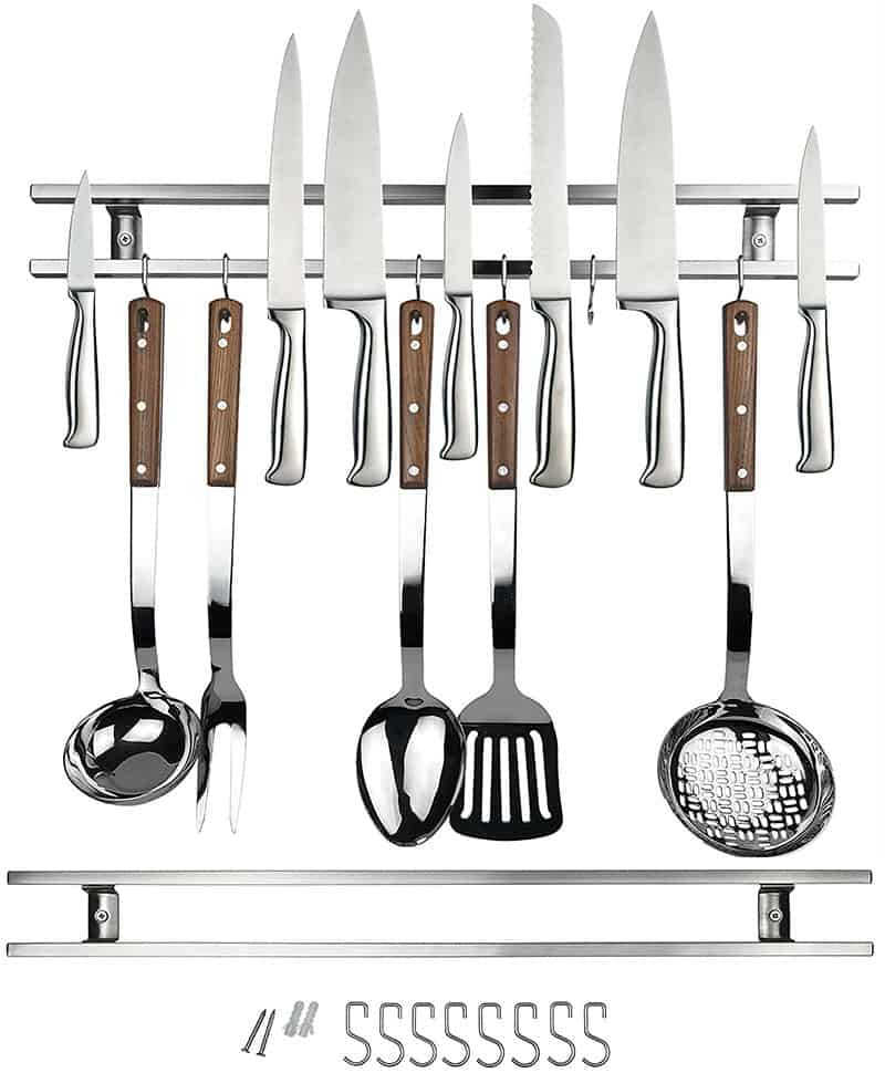 24 Inch Stainless Steel Magnetic Knife Holder & Space-Saving Strip