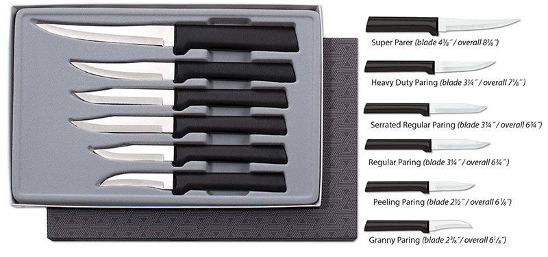 Rada Cutlery Paring Knife Set – 6 Knives with Stainless Steel Blades and Steel Resin Handles Made in USA