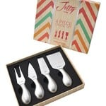 Cheese Knives with Engraved Labels: 4-Piece Stainless Steel Cheese Knife Set in Gift Box by Jetty Home