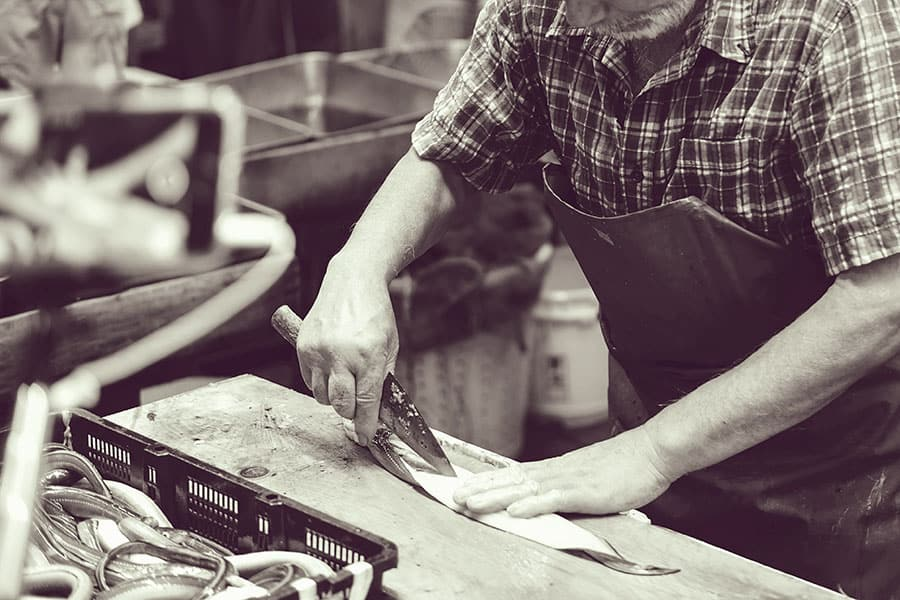 Deba knife at fish market