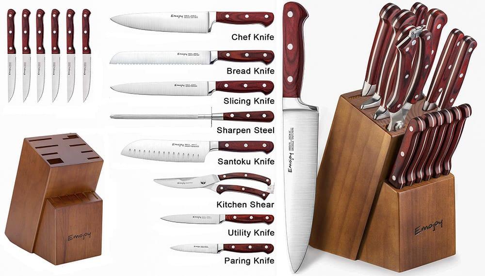 15-Piece Emojoy Knife Set with Rose Wood Block
