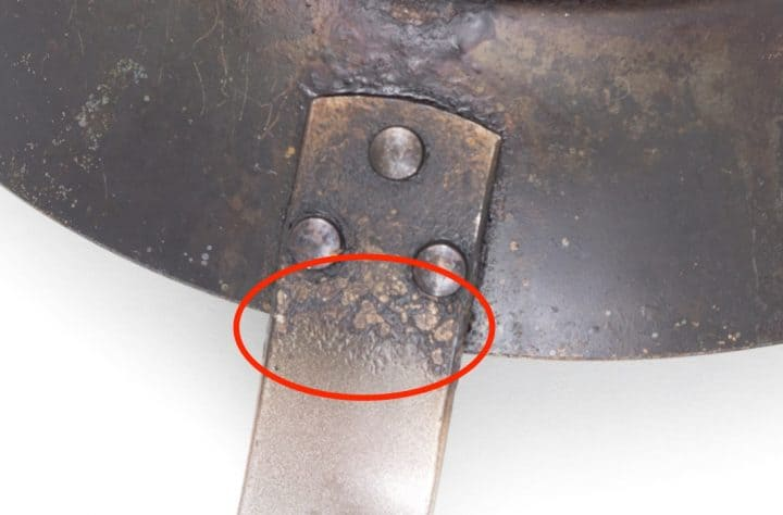 The heat during frying can melt the epoxy resin on the handle.