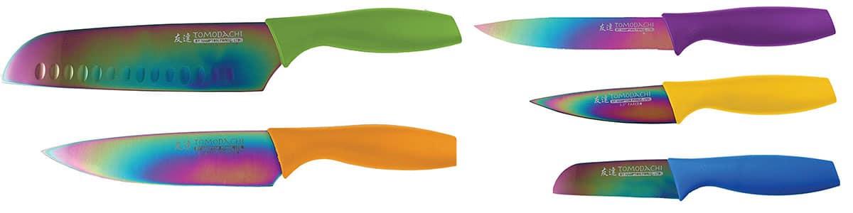 Tomodachi by Hampton Forge - Rainbow Titanium 5 Piece Kitchen Knife Set